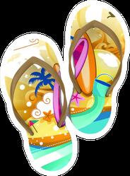 Colorful Flip-flops Beach Design Sticker