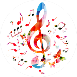 Colorful G-Clef And Music Notes Sticker