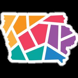 Colorful Geometric Iowa Map Sticker