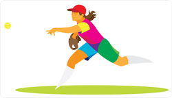 Colorful Girl Softball Pitcher Throwing Ball Sticker