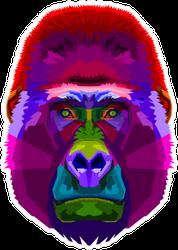 Colorful Gorilla On Pop Art Style Sticker