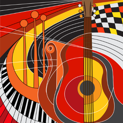 Colorful Guitar And Piano Sticker