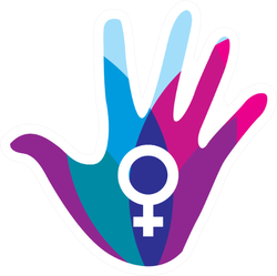 Colorful Hand With Female Symbol Sticker
