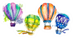 Colorful Hot Air Balloon Illustration Sticker