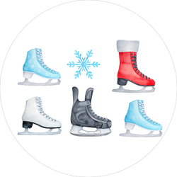 Colorful Ice Skating Shoes Sticker