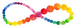 Colorful Infinity Sign, Watercolor Dot Sticker