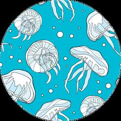 Colorful Jellyfish Bubble Seamless Pattern Sticker