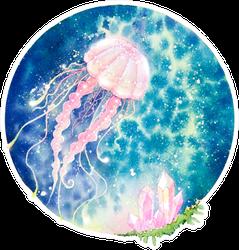Colorful Jellyfish, Swimming Marine Creature Watercolor Sticker