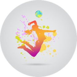 Colorful Jumping Volleyball Girl Sticker