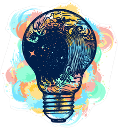 Colorful Light Bulb Ocean Wave Sticker