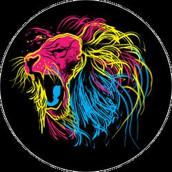 Colorful Lion Roaring Sticker