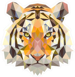 Colorful Low Poly Tiger Head Sticker