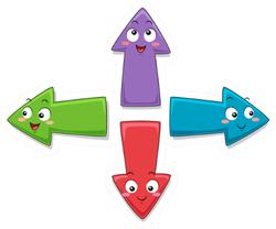 Colorful Mascot Illustration Featuring Arrows Sticker