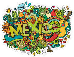Colorful Mexico Doodles Sticker