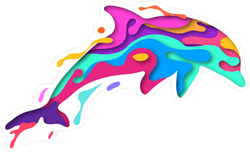 Colorful Paper Cut Dolphin Sticker