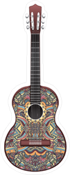 Colorful Patterned Guitar Sticker