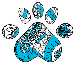 Colorful Paw Print Mandala Elements Sticker