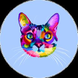 Colorful Pop Art Style Cat Head Sticker