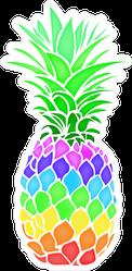 Colorful Rainbow Pineapple Fruit Sticker