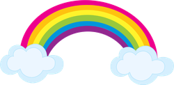 Colorful Rainbow With Clouds Sticker