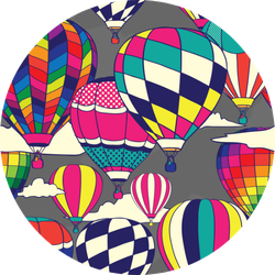 Colorful Retro Pop Hot Air Balloons Sticker