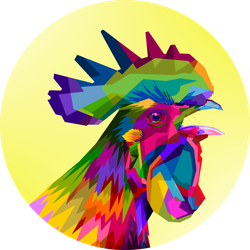 Colorful Rooster Chicken Head On Pop Art Sticker