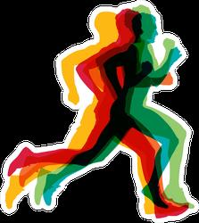Colorful Running Man Sticker
