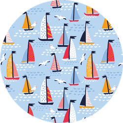 Colorful Sailing Yachts And Birds Pattern Sticker
