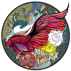 Colorful Siamese Fighting Fish Tattoo Sticker