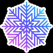 Colorful Snowflake Icon In Line Art Sticker