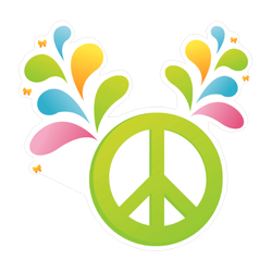 Colorful Splash Peace Sign Sticker