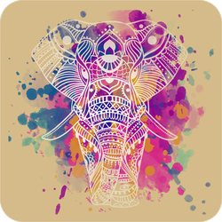 Colorful Splatter Elephant Sticker