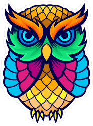 Colorful Stained Glass Owl Sticker