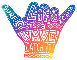 Colorful Surf Shaka Hand Symbol With Lettering Sticker