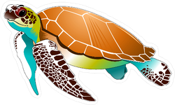 Colorful Swimming Sea turtle Sticker