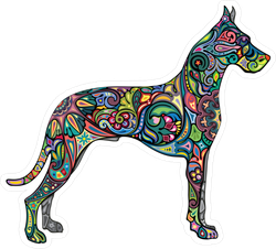 Colorful Tribal Spiral Dog Sticker