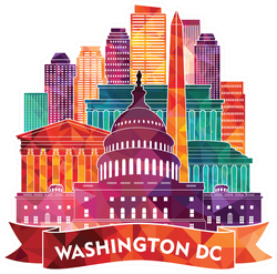 Colorful Washington DC Skyline Sticker