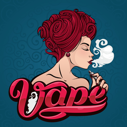 Colorful Woman Smoking Electronic Cigarette Sticker