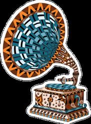 Colorful Zentangle Gramophone Sticker
