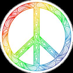 Colorful Zentangle Peace Sign Sticker