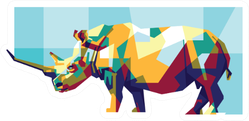 Colorfully Strong Rhino Sticker
