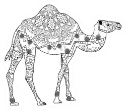 Coloring Book Page Camel Illustration Sticker
