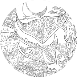 Coloring Page Stingray Sticker