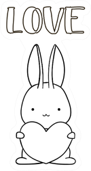 Coloring Pages, Bunny With Heart Sticker
