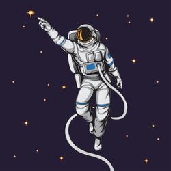 Comic Astronaut Reaching the Stars Sticker