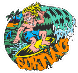 Comic Book Style Surfing Sticker