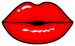 Comic Glossy Lips Kiss Sticker