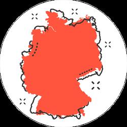 Comic Style Germany Map Sticker