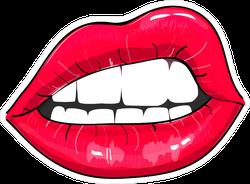 Comic Style Pink Sexy Lips Sticker