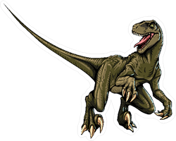 Comic Style Velociraptor Sticker